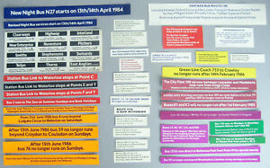 London Transport Bus Stop Stickers Set of 28 Different