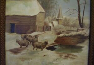 c1900 Antique Sheep snow Landscape Oil Painting Animal estate