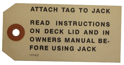 1956 1957 Buick Jack Instructions Tag