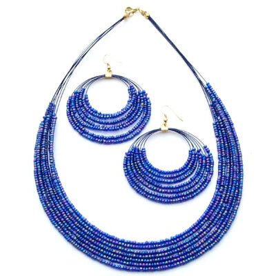 Blue Beaded Fashion Jewelry Layered Necklace Earrings (pack Of 2 Sets)
