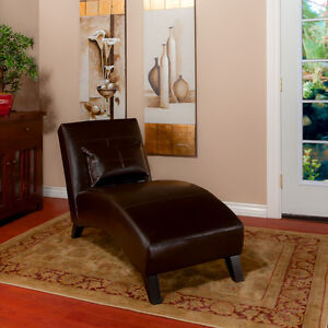 Curved-Chaise-Lounge-Chair-in-Chocolate-Brown-Leather-comes-with-pillow