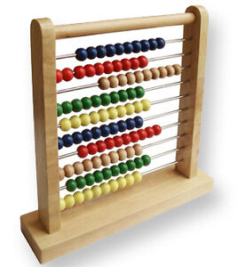 NEW Wooden Abacus Counting Frame / Metal Bars / 100 Beads -Maths Mathematics Aid