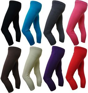LADIES-3-4-LEGGINGS-PLAIN-SHORT-VISCOSE-LEGGINGS-8-14