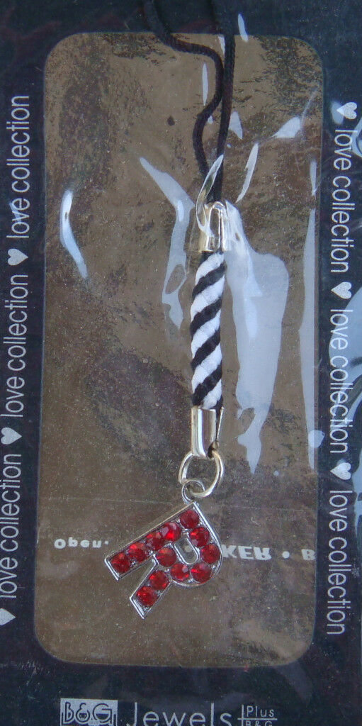 Letter Alphabet Initial Name Cell Phone Charm - Red