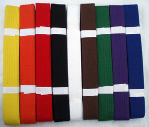 PLAIN-BELTS-for-Karate-Aikido-Taekwondo-Judo-Martial-Arts-ALL-COLOURS