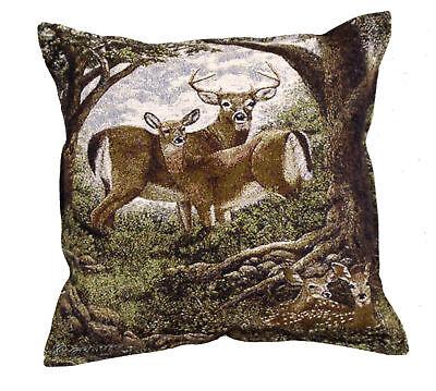 17 Deer Buck Doe Fawn Wildlife Tapestry Cushion Pillow