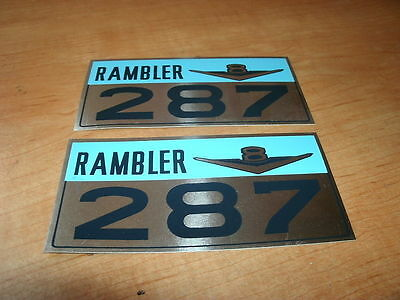 1965 Amc Rambler 287 V8 Engine Valve Cover Decals Pair