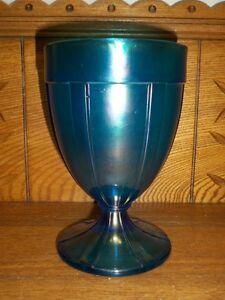 Vintage-Blue-Iridescent-Stretch-Glass-Spooner-or-Vase