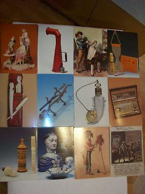Konvolut 100 nostalgische Postkarten mit alten Friseurmotiven Barbierzubehör