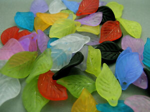 18mm 70pcs ASSORTED FROSTED ACRYLIC LUCITE LEAFS BEADS TZ1714