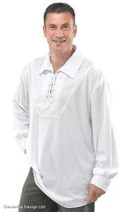 MENS WHITE MEDIEVAL TUDOR PIRATE FANCY DRESS COSTUME LONG SLEEVED SHIRT TOP NEW