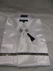 New-D-E-Satin-Dress-Shirt-w-Tie-and-Hanky-White