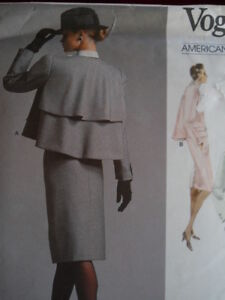Vogue-Bill-Blass-Ruffle-Draped-Cape-Jacket-Suit-Pattern
