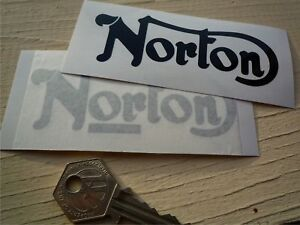 NORTON-Cut-Text-Motorcycle-STICKERS-100mm-Pair-Manx-Dominator-Atlas-Commando