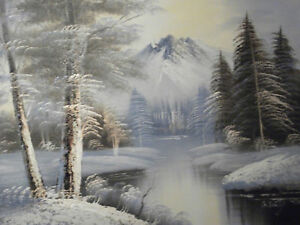 mountains-view-trees-forest-river-snow-oil-painting-canvas-landscape-original