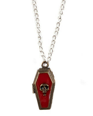 Funky Gothic Coffin Poison Necklace Locket Skull Vampire Message Box Jewelry-new