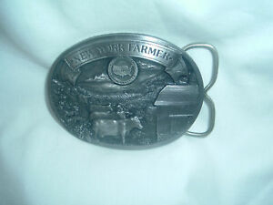 New Vintage 1987 New York Farmer Pewter Belt Buckle  Farming  Limited Edition