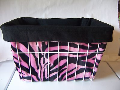 Basket Liner Pink Zebra Reversable