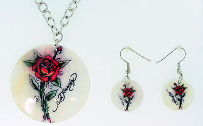 Ed Hardy Shell Necklace Earrings Set Rose