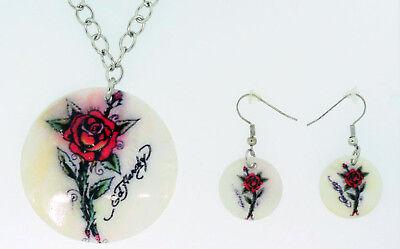 Ed Hardy Shell Necklace Earrings Set Rose