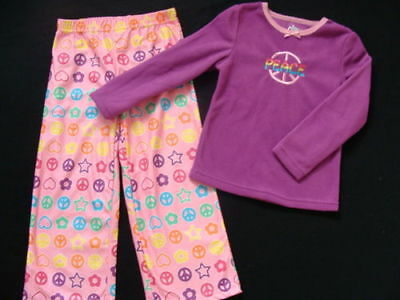 Fleece Girls Pajamas Size 4 5 Winter Peace Sign Pjs Purple Pink Pants