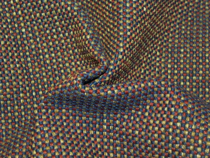 5+ Yards Upholstery Fabric Blue & Tan Checks