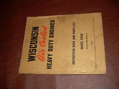 Wisconsin Engine Service Parts List Manual Vp4d Gas