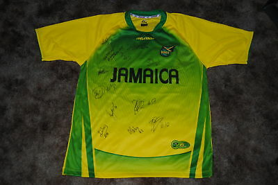 JAMAICA NATIONAL TEAM SIGNED 2011 REPLICA SOCCER JERSEY image