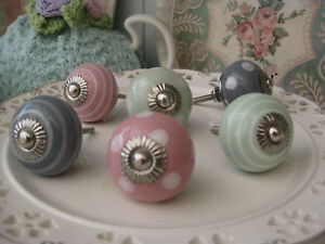 PINK-GREY-GREEN-polka-dot-stripe-spot-striped-ceramic-drawer-pulls-KNOB-knobs