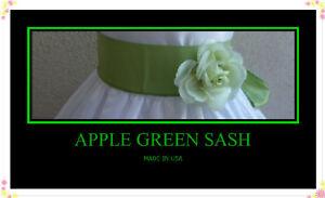 NEW-APPLE-GREEN-SASH-BELT-TO-MATCH-FLOWER-GIRLN-DRESSES