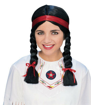 Adult Black Female Native American Wig Squaw Indian Woman Costume Accessory