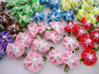 70 Mix Colorful Poppy Ribbon Flower Bow Pearl Bead Center/trim/craft/dress F37