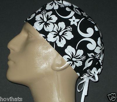 Black & White Hawaiian Male Scrub Hat Free Custom Sizing