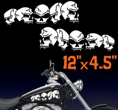 Motorcycle Row Of Skulls Gas Tank Side Decals Harley