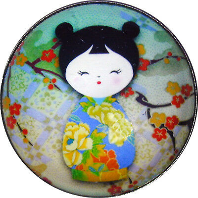 Japanese Kokeshi Doll Crystal Dome Button 1 & 3/8 Kd25 Free Us Shipping