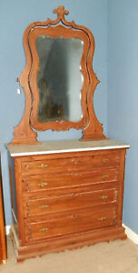 Carved-Rosewood-Marble-Top-Dresser-with-Mirror
