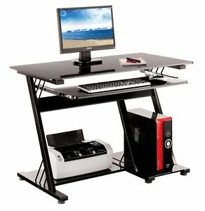 Computer desk pc table office furniture black glass shelving sliding shelf home ebay - Tesco office desk ...