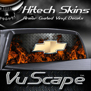 Vuscape Truck Rear Window Graphic - MADE IN MICHIGAN - CHEVY FIRE DIAMOND PLATE