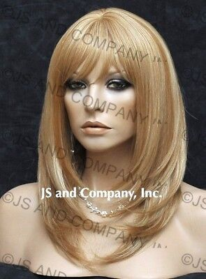 Human Hair Blend Medium Straight Blonde Mix Wig Heat Safe Wbmn 27-613