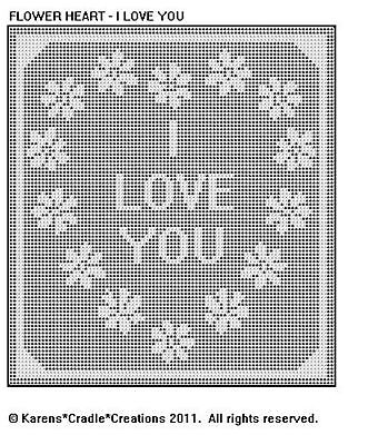 Flower Heart - I Love You Filet Crochet Pattern