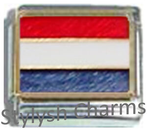 NETHERLANDS-HOLLAND-FLAG-Ceramic-Italian-Charm-9mm-1x-PQ035-Single-Bracelet-Link