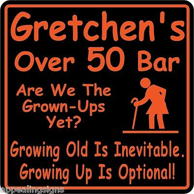 Personalized Over The Hill Birthday Sign Custom Name Beer Bar Funny Gift