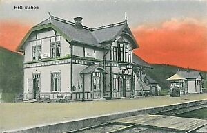 VINTAGE-POSTCARD-NORWAY-HELL-Stj-rdal-TRAIN-STATION