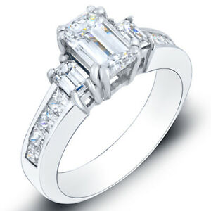 2 90 ct emerald cut engagement ring g vvs2