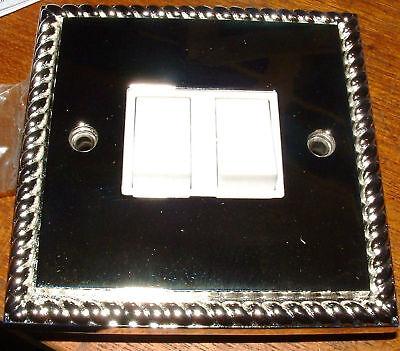 2 gang changeover Georgian silver light switch chrome