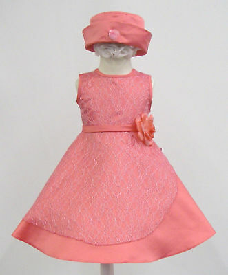 Baby Girl & Toddler Pageant Wedding Formal Dress S M L Xl Coral (1-3 Yrs)