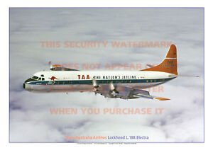 TAA LOCKHEED L.188 ELECTRA AIRCRAFT A3 COLOUR POSTER PICTURE PHOTO