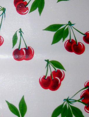 Stella Retro White Vtg Style Cherry Oilcloth Material Fabric Craft Kitchen