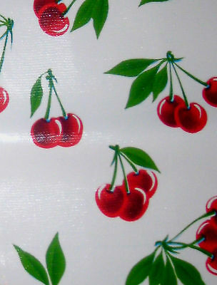 Stella Retro White Vtg Style Cherry Oilcloth Material Fabric Craft Kitchen