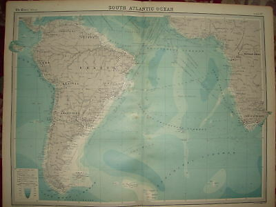 1920 LARGE MAP SOUTH ATLANTIC OCEAN ROUTES &c 23